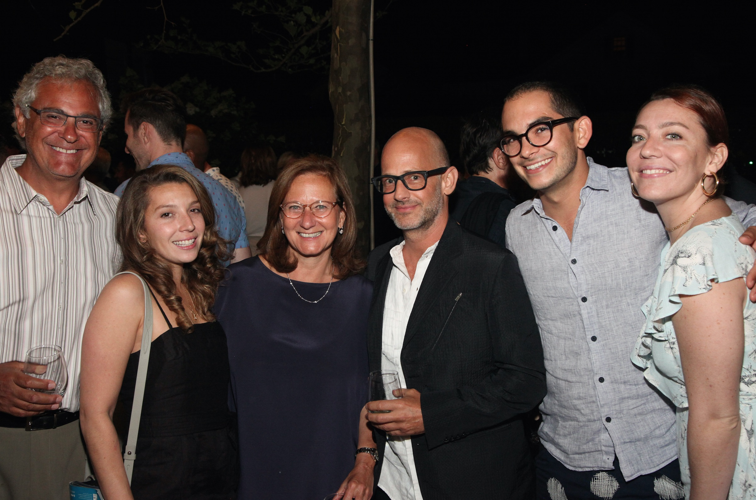 Actors Fund COO Barbara Davis (third from left) with husband Tim Davis, Victoria Fuentes, Moises Esquenazi, Chris Melendez and Monica Fuentes