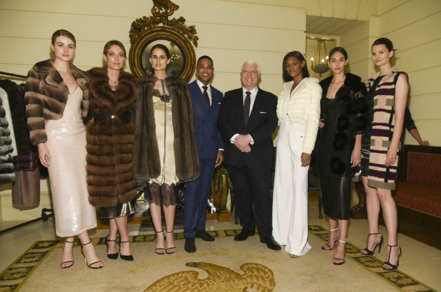 Don Lemon and Dennis Basso with models